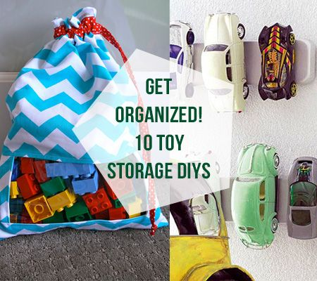 Get Organized! 10 Inspiring DIY's For Toy Storage by Becka Robinson. Use garden baskets, spice racks, magnet strips and over-the-door shoe holders to organize baby's toys.