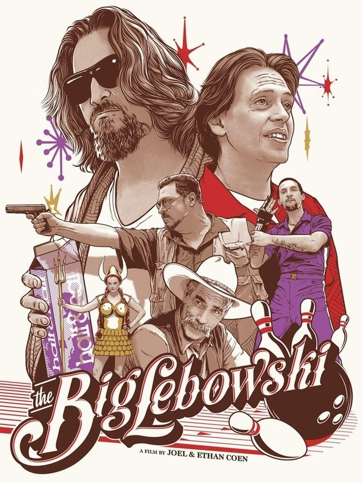 Cool Art: 'Way Out West There Was This Fella' by Joshua Budich. The Big Lebowski, Poster, The Dude, Donnie, Walter, Jesus.