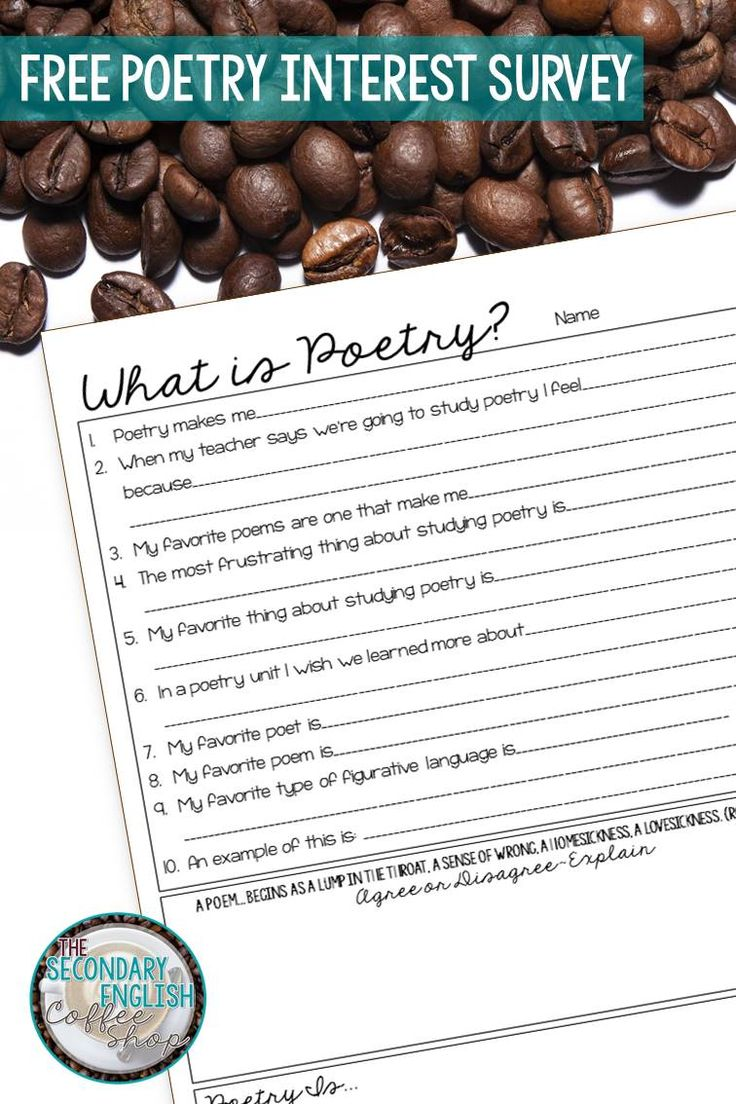 FREE Poetry Interest Survey for High School Students. Great way to start a poetry unit!