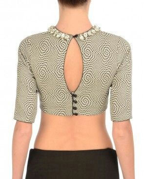 Back open printed blouse