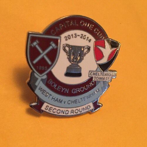 West Ham Utd Vs Cheltenham Town Fc Badge Crest Pin