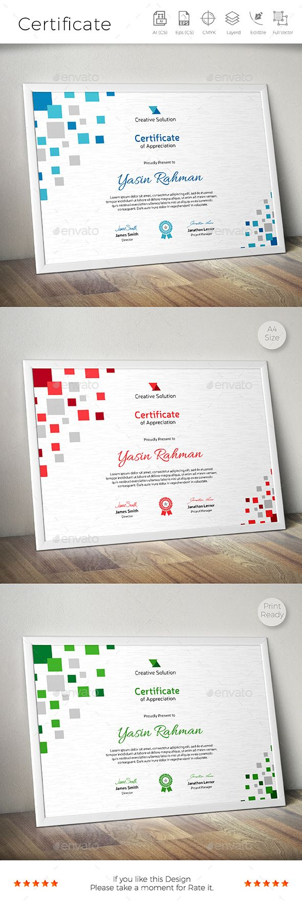 #Certificate - Certificates #Stationery Download here: https://graphicriver.net/item/certificate/14200232?ref=alena994