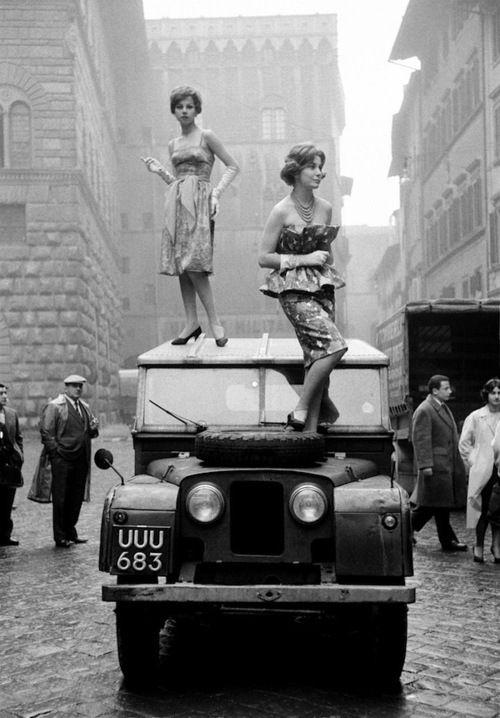 Fashion | Florence, Italy | Photographer Alfa Castaldi | 1958 | road | car | black & white | rebel | car | vintage | history