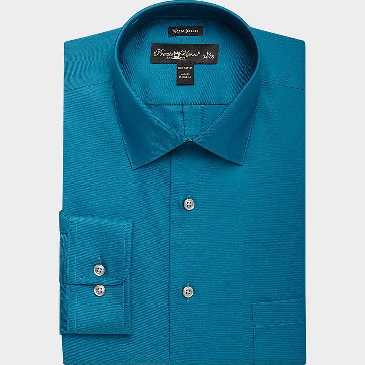 Pronto uomo teal slim fit dress shirt slim fit extra for Extra slim dress shirt