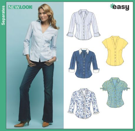 New Look 6407 Misses' Shirts - Recommended by PatternReview.com  love the short sleeve mandarin collars