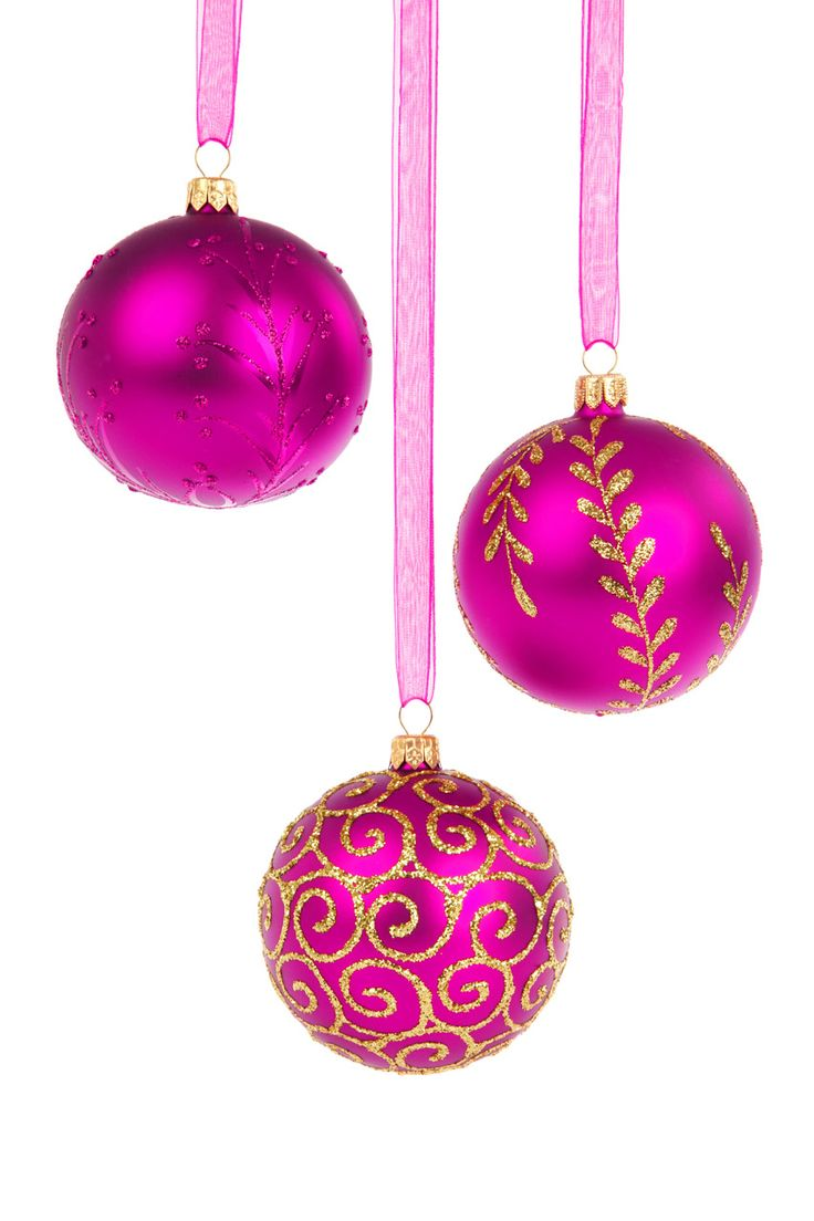 Hot pink christmas decorations - Hanging Ornaments With Satin Or Velvet Ribbon Hot Pink Christmas Tree Decorations