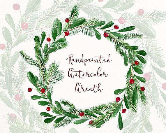 Christmas Watercolor Wreath Clipart Winter Clip Art Winter Etsy In 2020 Wreath Watercolor Christmas Watercolor Clip Art