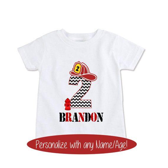 Custom tshirt, Fireman birthday shirt, boys birthday t ...