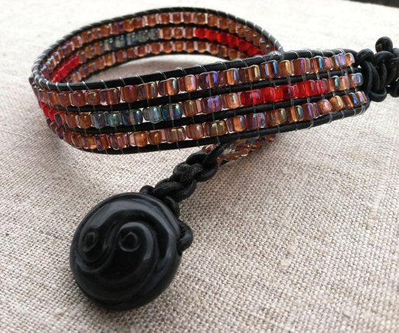 Beaded Wrap Bracelet  Leather Beaded Hand Loomed by Kismetgems