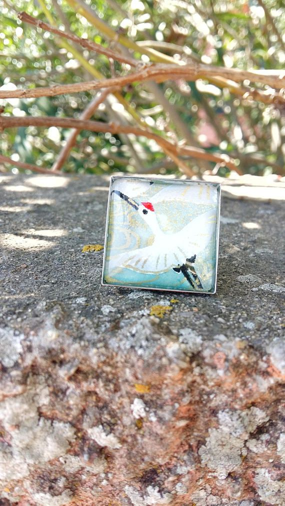 Chiyogami paper Ring  Crane illustration Glass Ring  Square
