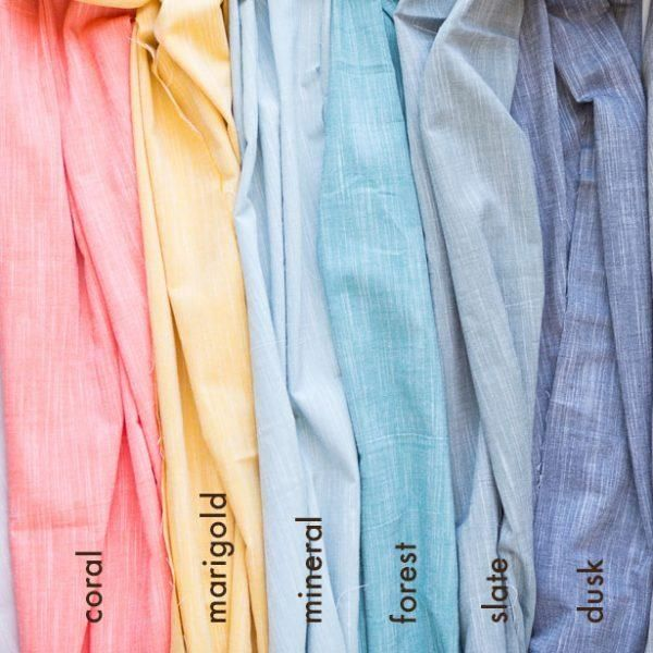 Coral - Birch Fabric - Organic Cotton YARN DYED CHAMBRAY