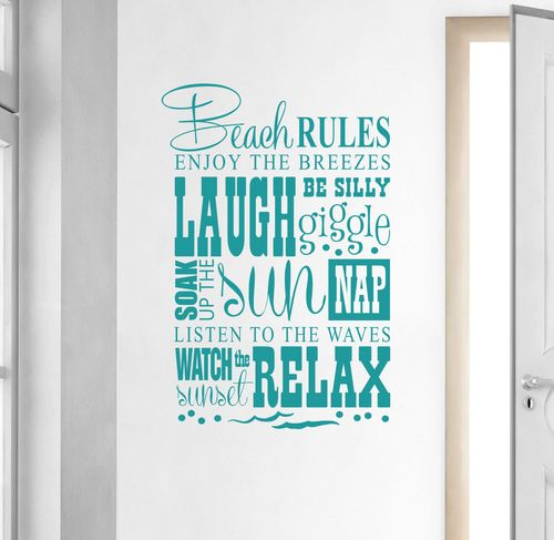 Beach Rules Wall Decal... Good Rules to Follow: http://beachblissliving.com/beach-rules-signs-pillows-prints/