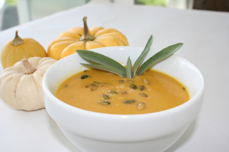 Kabocha Soup: An Autumn bisque of fresh local kabocha in a chicken broth-white wine reduction, seasoned with shallots and fresh sage from our garden. www.greenporterhotel.com