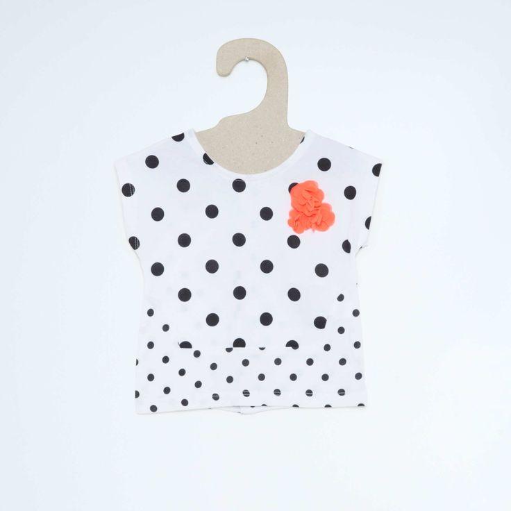 T-shirt met print en korte mouwen                                                                                                                                                                                                 roze stippen Meisjes babykleding