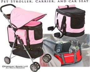 All-in-One Pet Stroller, Carrier and Car Seat for dogs and cats weighing up to 30lbs from Discount Ramps. In pink, red and blue.