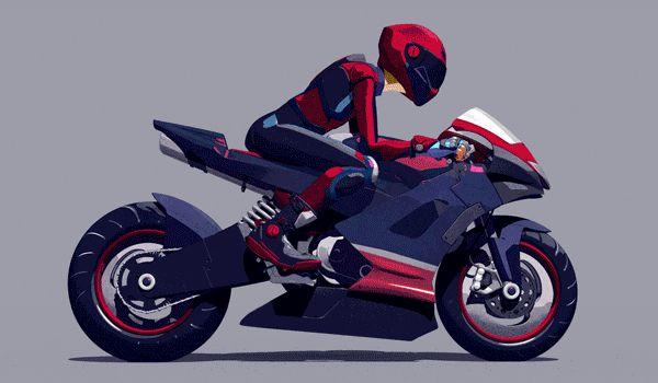 Анимация на мотоцикле