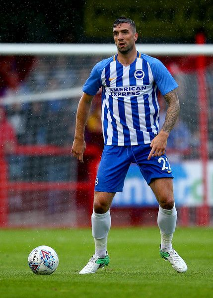 Shane Duffy of Brighton in action during the Pre Season Friendly match between Crawley Town and Brighton & Hove Albion at Broadfield Stadium on July 22, 2017 in Crawley, West Sussex.