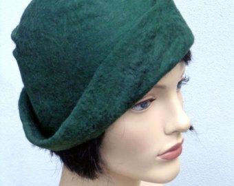 Cappello verde bosco, cloche in feltro, negli anni venti ispirato cappello, moda art deco, di ispirazione vintage, 20s accessorio