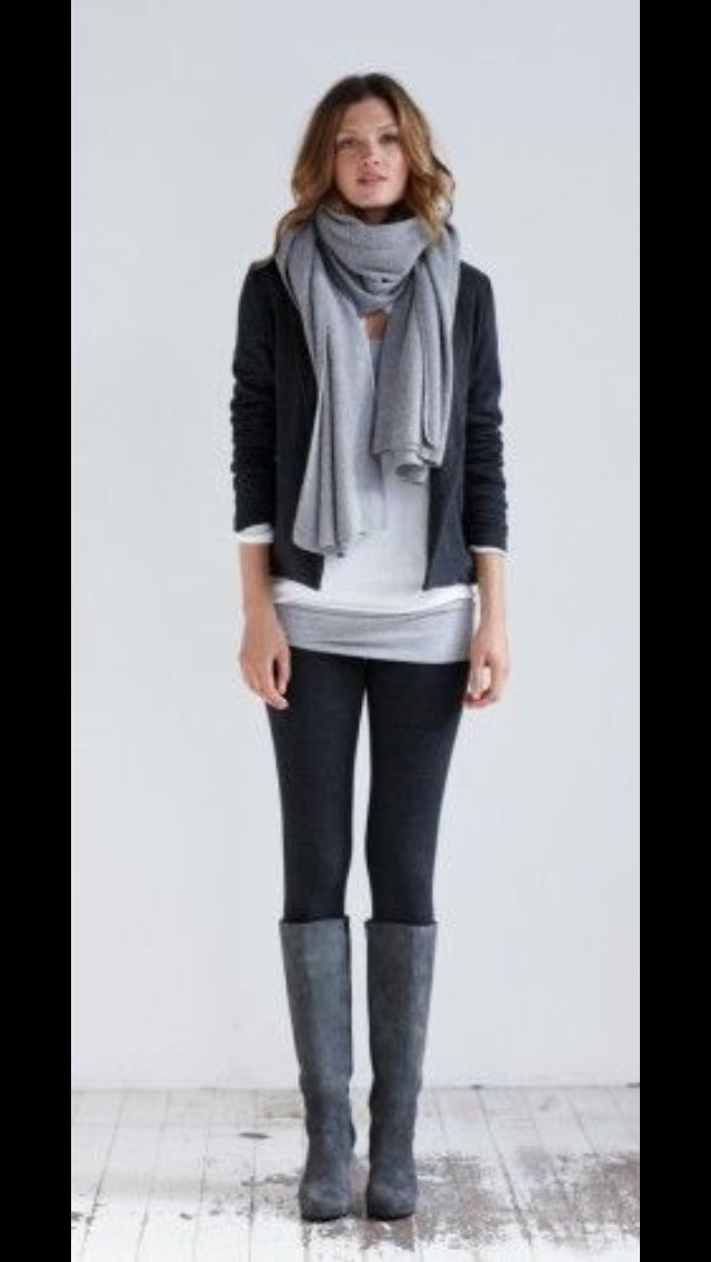 Simple and modern look for fall. Black skinnies, white tee layered with grey scarf, black jacket and grey boots. Stitch Fix Fall to Winter Fashion 2016/2017