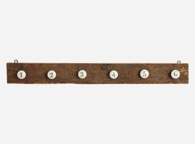 House Doctor DK Recyled Wooden Coat Rack With Ceramic Hooks