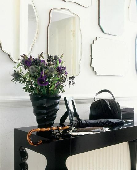 entrances/foyers - Pottery Barn Eleanor Frameless Mirrors glossy black console table black vase mirrors  Glossy black lacquer console table,