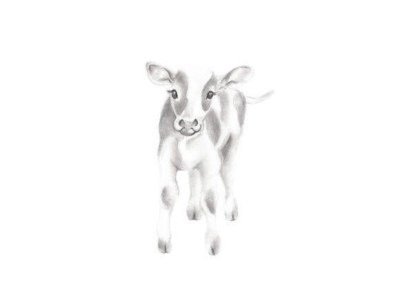 Art de pépinière à la ferme bébé vache veau bébé par studioQgallery
