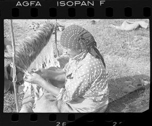 Negative (black and white); a Tuhoe woman sitting on a mat, one which she has herself woven, on the ground outdoors; she is weaving a kahu kiwi (kiwi feather cloak) on a turuturu (loom); she wears a headscarf and shirt made of patterned cloth, and a skirt made of woven plant fibre; Ruatoki, New Zealand. Photographic Process