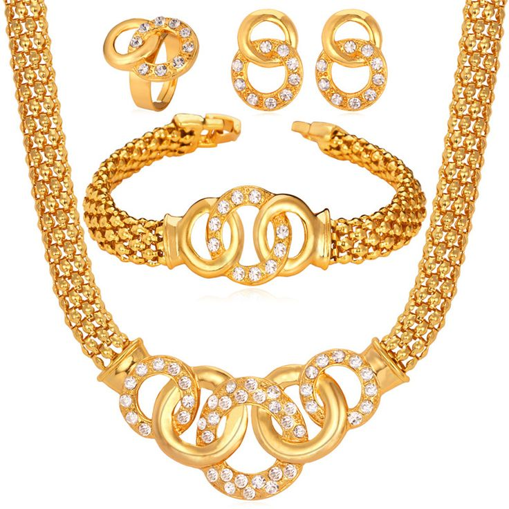 Chunky Style Necklace Bracelet Earrings Ring Jewelry Set