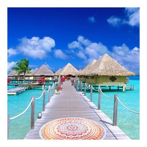 Orange Ombre Round Beach Towel Australia Beach Throw Mandala Roundie