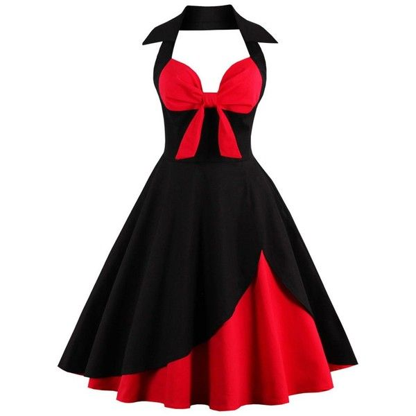 Two Tone Vintage Rockabilly Party Skater Dress (61 BRL) ❤ liked on Polyvore featuring dresses, skater dress, party dresses, two tone dress, party skater dresses and holiday party dresses