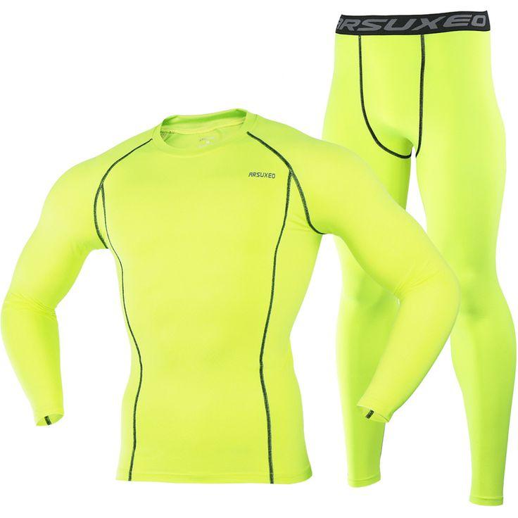 ARSUXEO 2016 Running T Shirt and Pants Men Compression Tights Underwear Sets Crossfit Bodybuilding Fitness Sport Jerseys Suit 35 <3 En cliquant sur le bouton de VISITE vous mènera à trouver produit similaire