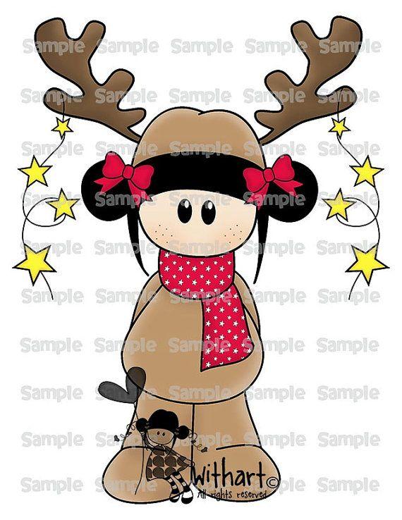 Xmas Reindeer Rudolph Nina dolls 0324 clip art set por Withart