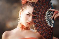 [フリー画像素材] 人物, 女性, アジア女性, 扇子 ID:201304221100