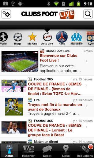 L'application dispose de 5 onglets :<p>★ ACTU : L'INFO EXCLUSIVE EN TEMPS REEL DES CLUBS<br>Paris St Germain<br>Olympique de Marseille<br>Olympique Lyonnais<br>Girondins de Bordeaux<br>LOSC<br>Montpellier<br>OGC Nice<br>St Etienne<br>FC Nantes<br>RC Lens<
