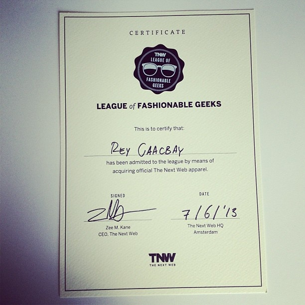 Official TNW Fashionable Geek Certificate