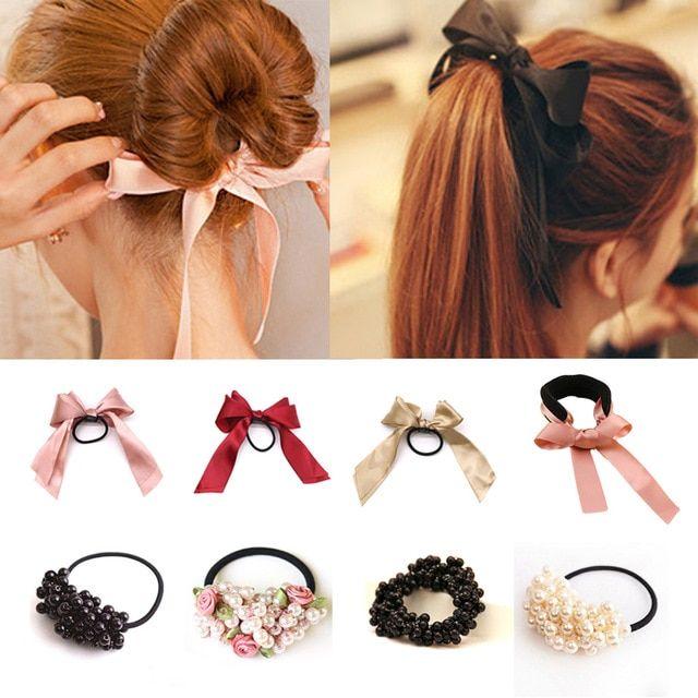 Women/'s Hair Bands Pearl Hair Scrunchies Ties Rope Accessories Ponytail Holders