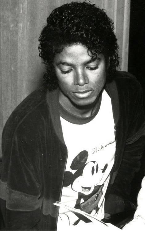 Michael Jackson with a Mickey Mouse shirt.