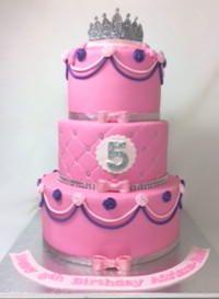 Princess tiara 3 tiered 5th Birthday Cake by www.carryscakes.com.au