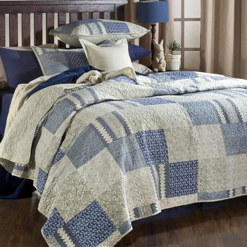 Blue and stone patchwork quilt | Reversible | With matchin pillowcase(s) | Machine washable