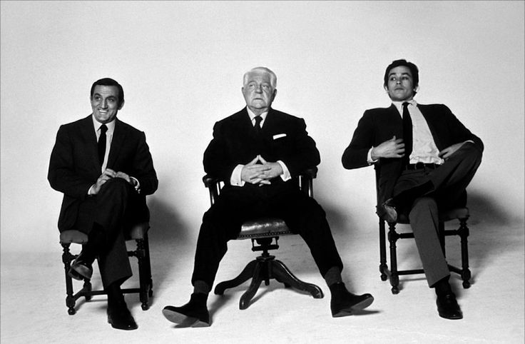 French icon from the cinema. Lino Ventura, Jean Gabin and Alain Delon.