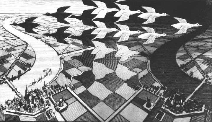M.C. Escher - Day and Night, 1938  woodcut in black and gray, printed from two blocks