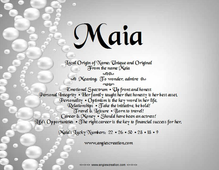 The Meaning Of The Name - Maia