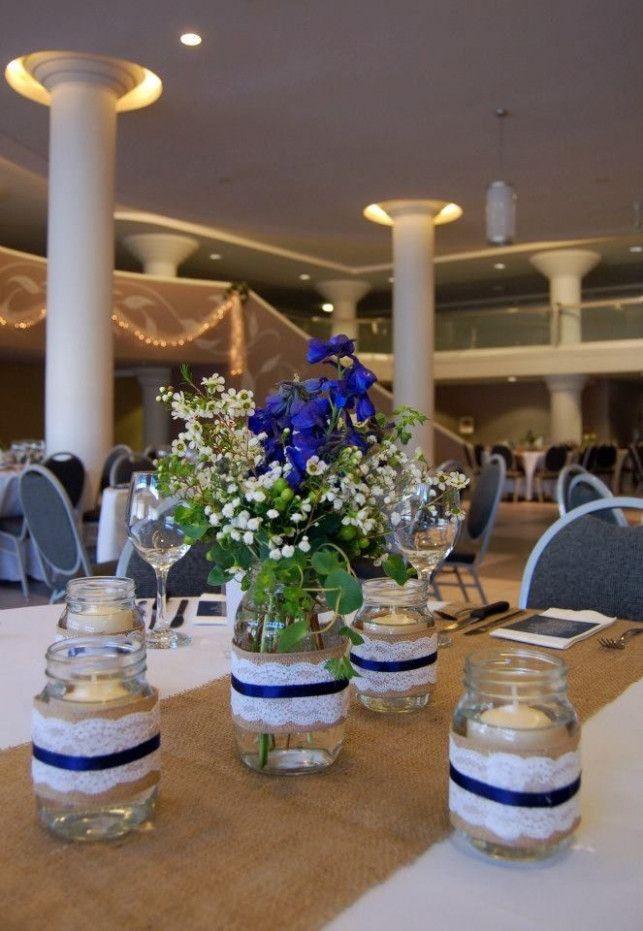 Wedding Themes Navy Mason Jars Candle Wedding Centerpieces