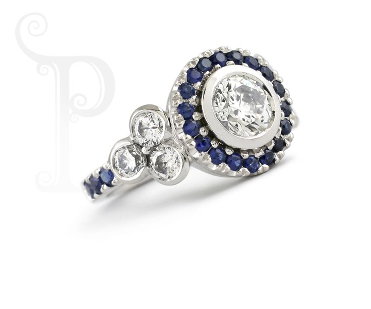 Handmade 18ct White Gold Halo Ring , Set With Round Brilliant Cut diamonds and Sapphires