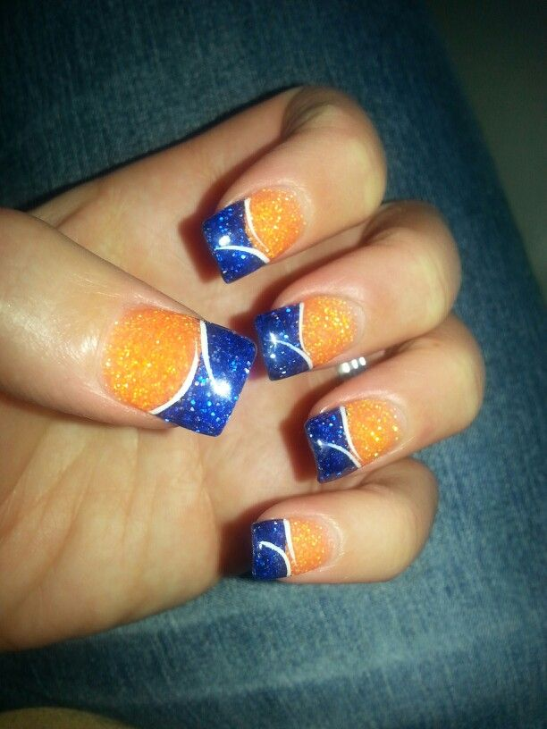 Denver Bronco nails! #nails #broncos ♥