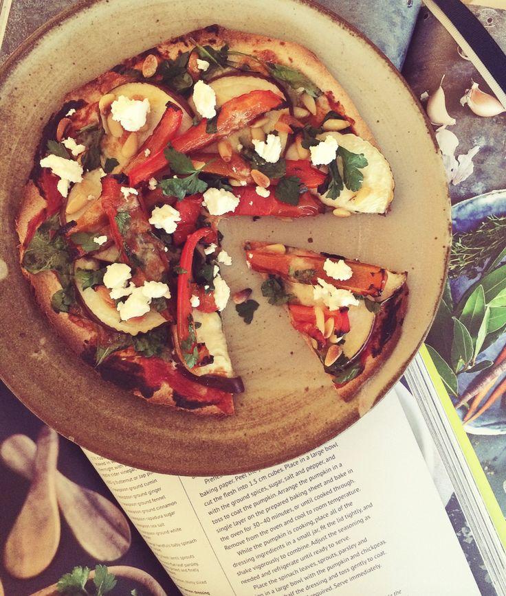 Roasted Capsicum + Eggplant Pizza