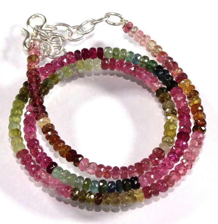 16'' STRAND BEAUTIFUL NATURAL FACETED MULTI TOURMALINE GEMSTONE BEADS --14536