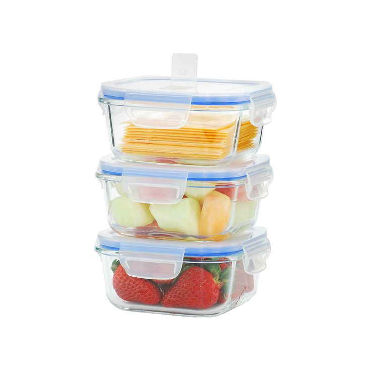 Kinetic GoGreen Glasslock Elements 6-Piece Square Oven Safe Glass Food Storage Container Set with Vented Lid, 17 oz., Clear