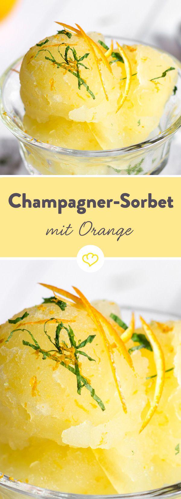 Ein fruchtig-leichtes Sorbet mit ordentlich Schwips - aber mit einem vom Allerfeinsten. Prickelnder Champagner sorgt für Festtagsstimmung auf dem Löffel.