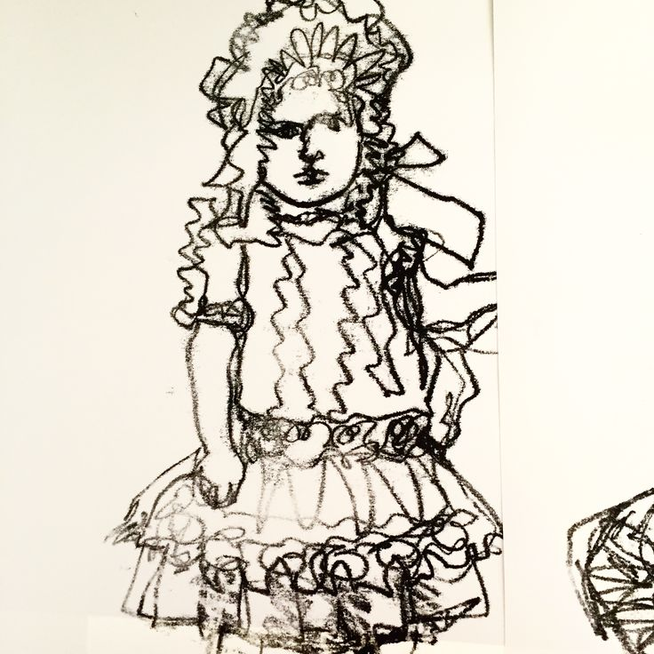 from a little girl in a vintage cabinet card portrait wearing a ridiculous amount of frills and lace. monotype on paper. With all of this series, I was largely using a continuous line drawing technique to avoid fussiness in my line and to get a rhythm going.